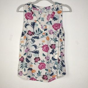 Old Navy Relaxed White Floral Sleeveless Blouse S